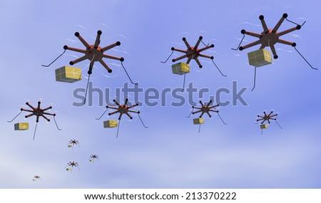 drone invasion - stock photo