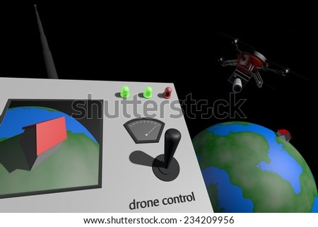 Drone taking pictures from outer space - stock photo