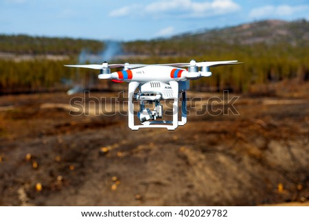 Drone up in the air - stock photo
