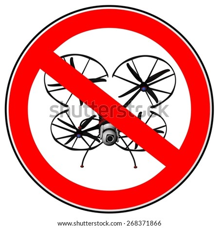Drone use prohibited sign. Illustration of a no drone zone sign isolated on white background. - stock photo
