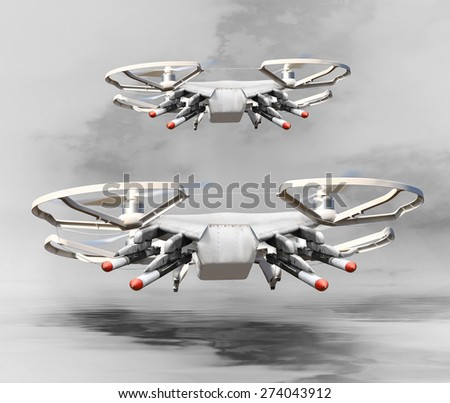 Drone with missiles. New technology for war. Digital artwork fictional vehicles on UAV theme. - stock photo