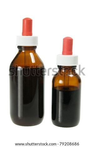 Drop Bottles of Herbal Medicine on White Background