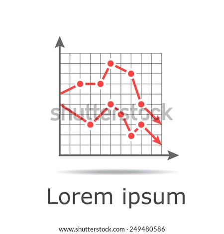 Drop chart with two graphs on grid and white background, 2d raster - stock photo