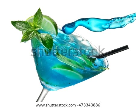 Drop flying over a blue mojito in martini glass, close up