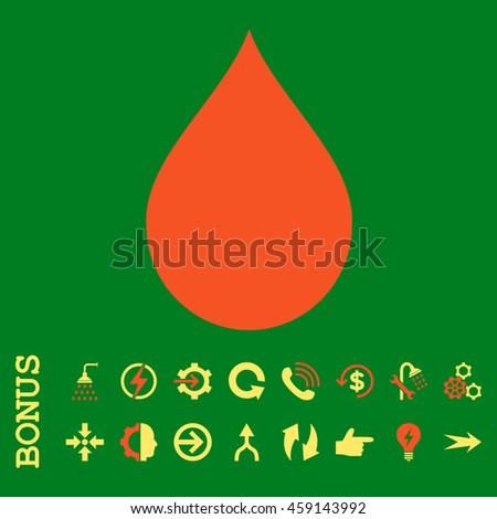 Drop glyph bicolor icon. Image style is a flat pictogram symbol, orange and yellow colors, green background. - stock photo