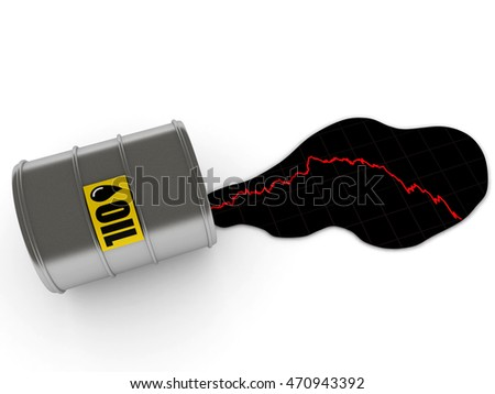 Drop in oil prices. Spilled oil Barrel and graphic with falling oil prices. High quality 3d render.