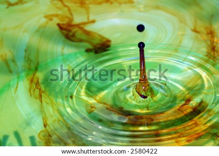 drop of iodine in water - stock photo