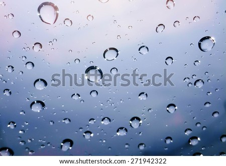 Drop of rain on the Glass for background