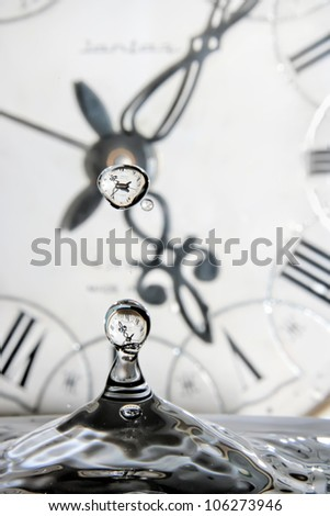 Drop of time. Play with water and clocks. - stock photo