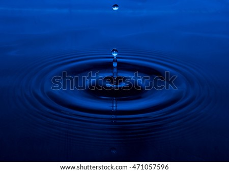 Drop of water blue color background