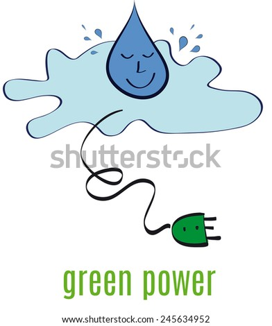 drop of water falling and green energy - stock photo