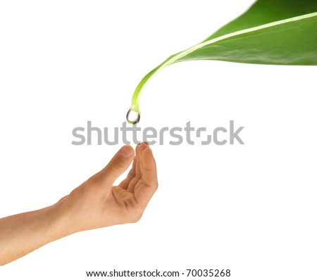 Drop of water falling on hand - stock photo