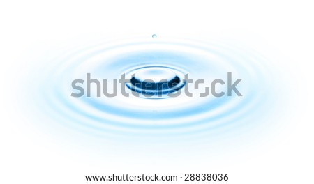 Drop of water on white - stock photo