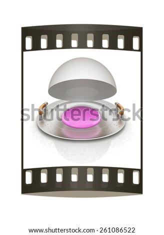 drop on restaurant cloche isolated on white background. The film strip - stock photo