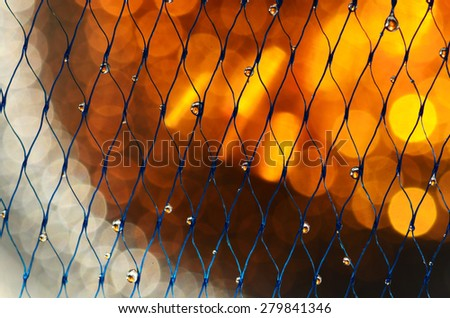 droplets on the net - stock photo