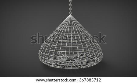 droplike birdcage coop isolated on dark background - stock photo