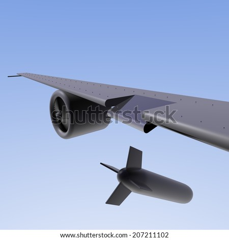 Dropping a bomb from a plane. Clear blue sky at the background