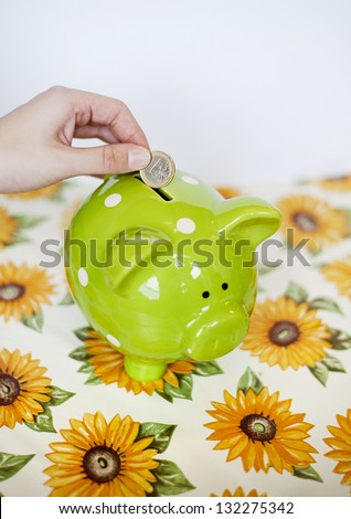 Dropping a euro into a money pig box - stock photo