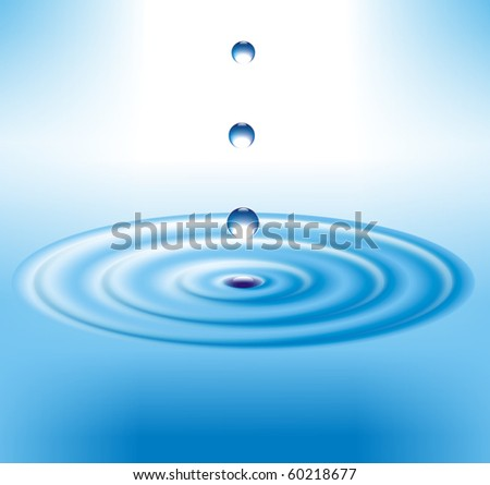 Drops falling on the surface of water - stock photo