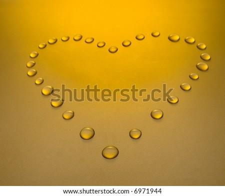 Drops like heart. Kind under a corner. - stock photo