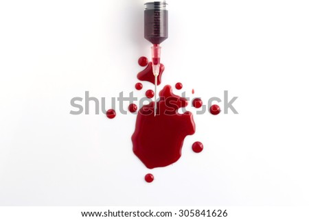 Drops of blood and syringes in the middle on a white background, illustration, media medical. - stock photo