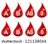 Drops of blood with typed blood groups - stock vector
