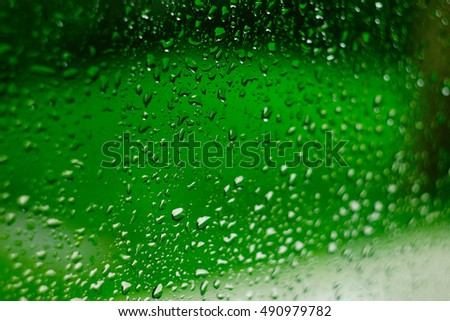 Drops of rain on glass.