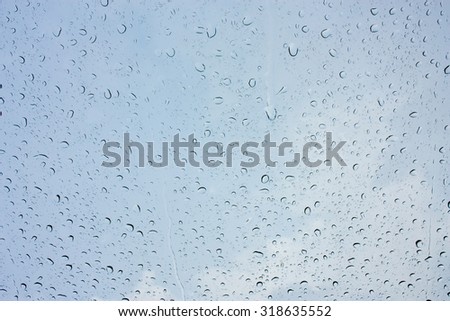 Drops of rain on glass , rain drops on clear window