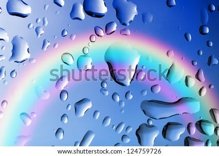 drops of rain on the window - stock photo