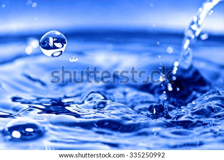 Drops of water making a smooth splash - stock photo