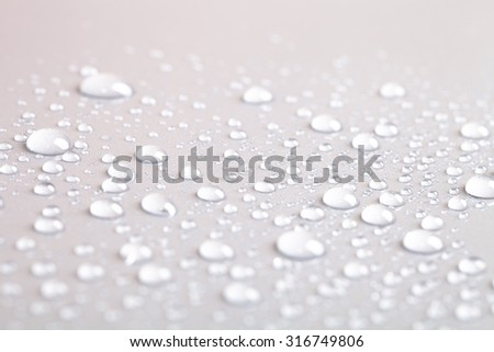 Drops of water on a color background. Gray. Shallow depth of field. Selective focus. Blur. - stock photo