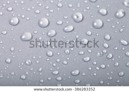 Drops of water on a color background. Shallow depth of field. Selective focus.