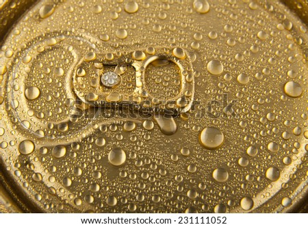 drops of water on a gold background - stock photo
