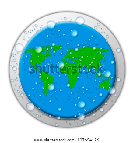 drops of water on the button