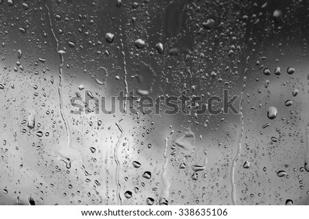 Drops of water.on the  glass. black and white tone background.