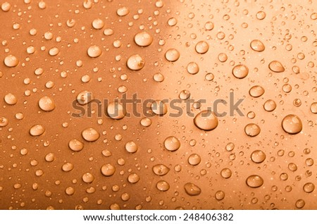 Drops of water on the surface. Shallow depth of field. unfocused - stock photo