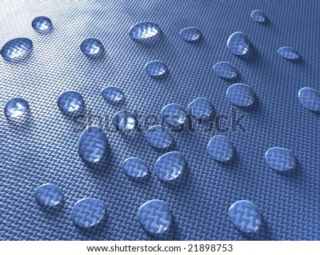 Drops on blue texture - stock photo
