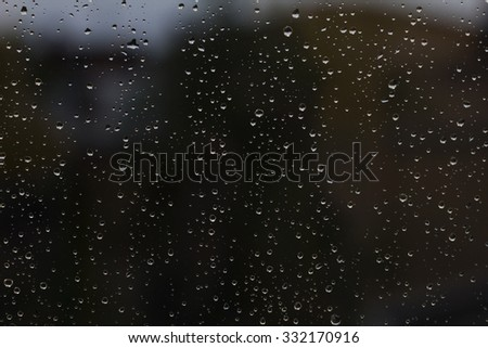 drops on the window. city views