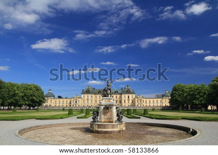 Drottningholm Castle with beautiful garden and fountain - stock photo