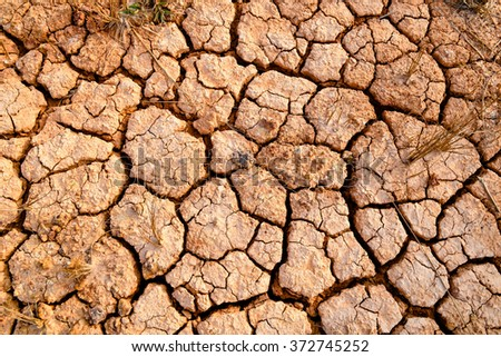 Drought, the ground cracks, no hot water - stock photo