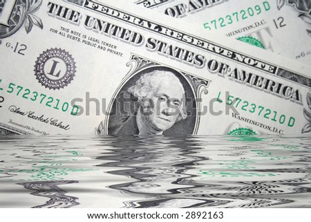 drowning in debt - stock photo