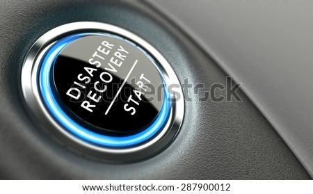 DRP start button. Disaster Recovery Plan concept or crisis solutions. - stock photo