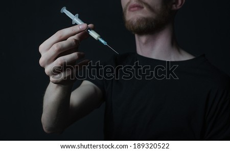 drug addict depression syringe  - stock photo