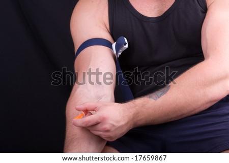 drug addict man in action - stock photo