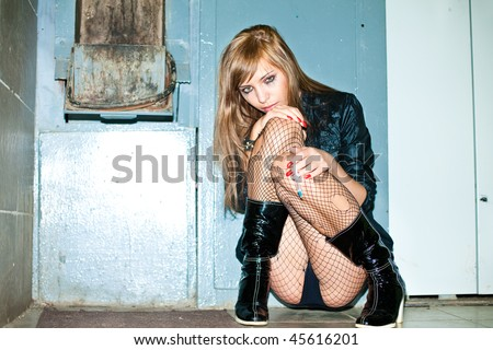 drug addict prostitute young woman with heroin syringe