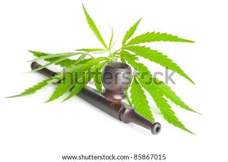 Drug cannabis. Marijuana flower bud and pipe isolated on white background - stock photo