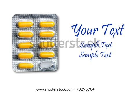 drug capsules in bubble pack - stock photo
