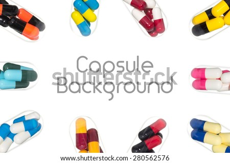 Drug or pill or capsule in test tube around center background. Background for hospital or clinic or health or medical design - stock photo