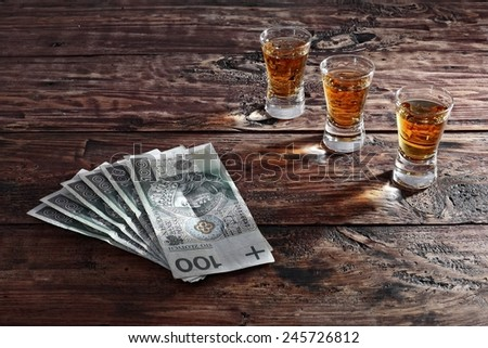 Drugs ,alcohol and money - stock photo