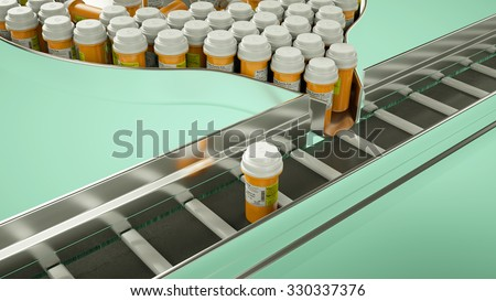 Drugs and pills production line. pharmacy and medicine (custom render and caption with custom type and letters)